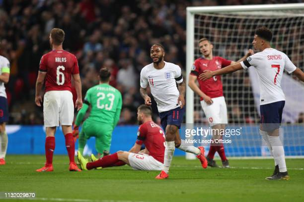 Raheem Sterling of England celebrates the third England goal during the 2020 UEFA European Championships qualifying match between England and Czech...