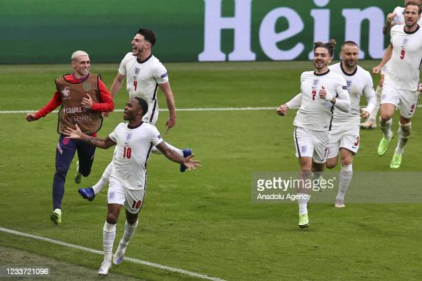 Raheem Sterling of England celebrates with his teammates after scoring a goal during EURO 2020 Round of 16 match between England and Germany at...