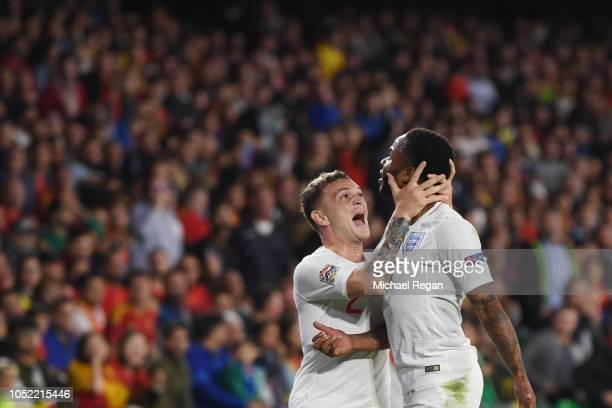 Raheem Sterling of England celebrates with Kieran Trippier as he scores his team's first goal with Kieran Trippier of England during the UEFA Nations...
