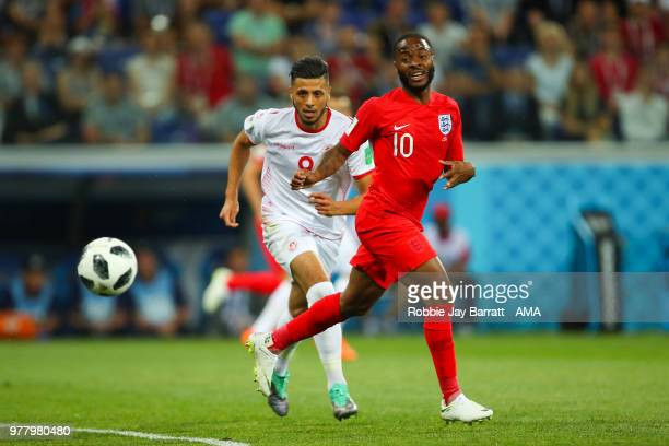 Raheem Sterling of England competes with Anice Badri of Tunisia during the 2018 FIFA World Cup Russia group G match between Tunisia and England at...