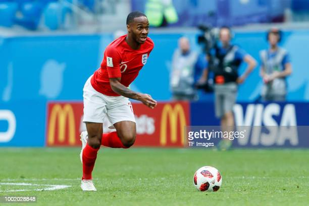 Raheem Sterling of England controls the ball during the 2018 FIFA World Cup Russia 3rd Place Playoff match between Belgium and England at Saint...