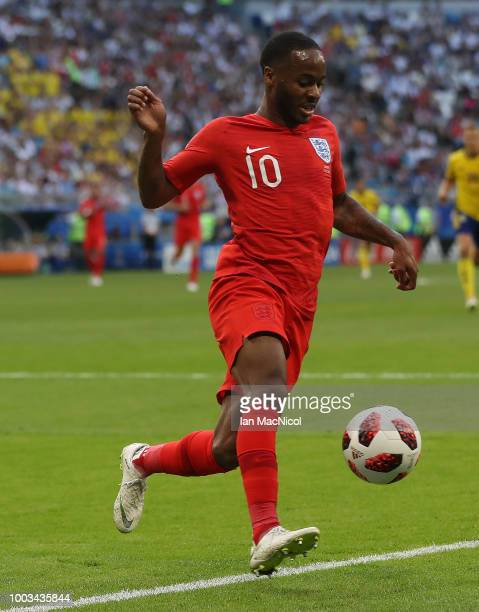Raheem Sterling of England controls the ball during the 2018 FIFA World Cup Russia Quarter Final match between Sweden and England at Samara Arena on...