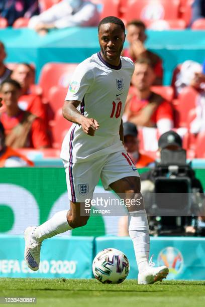 Raheem Sterling of England controls the ball during the UEFA Euro 2020 Championship Group D match between England and Croatia at Wembley Stadium on...