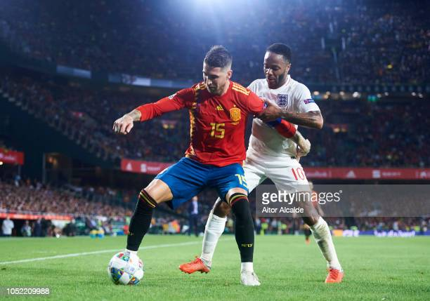 Raheem Sterling of England duels for the ball with Sergio Ramos of Spain during the UEFA Nations League A Group Four match between Spain and England...