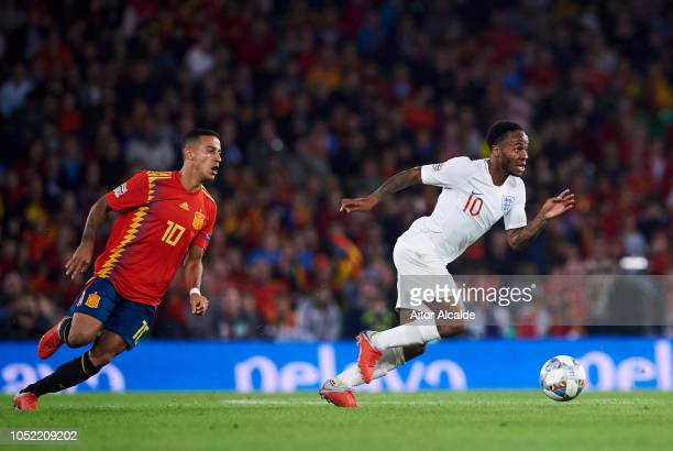 Raheem Sterling of England duels for the ball with Thiago Alcantara of Spain during the UEFA Nations League A Group Four match between Spain and...