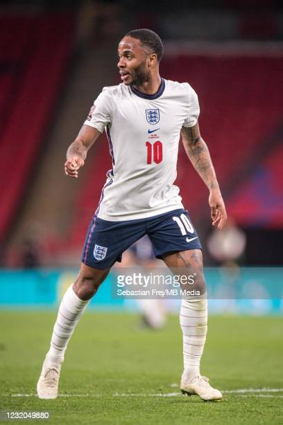 Raheem Sterling of England during the FIFA World Cup 2022 Qatar qualifying match between England and Poland on March 31, 2021 in London, United...