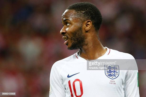 Raheem Sterling of England gestures during the 2018 FIFA World Cup Russia semi final match between Croatia and England at the Luzhniki Stadium in...