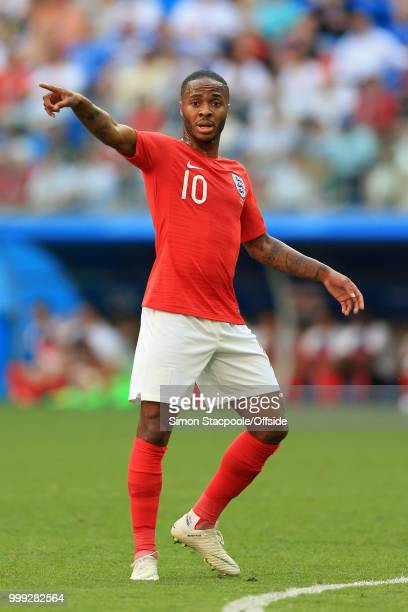 Raheem Sterling of England gestures during the 2018 FIFA World Cup Russia 3rd Place Playoff match between Belgium and England at Saint Petersburg...