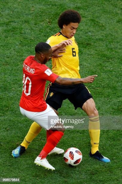Raheem Sterling of England in action againstAxel Witsel of Belgium during the 2018 FIFA World Cup RussiaPlayOff for Third Place between Belgium and...