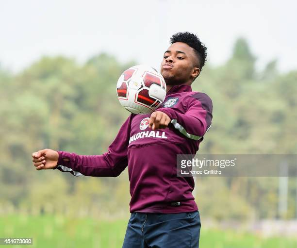 Raheem Sterling of England in action during a training session at St Georges Park on September 5 2014 in BurtonuponTrent England