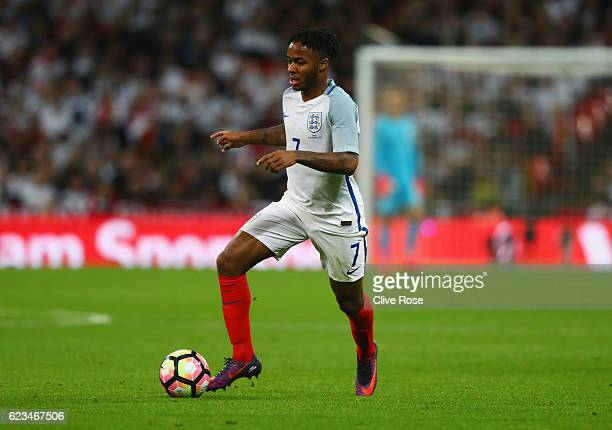 Raheem Sterling of England in action during the international friendly match between England and Spain at Wembley Stadium on November 15 2016 in...