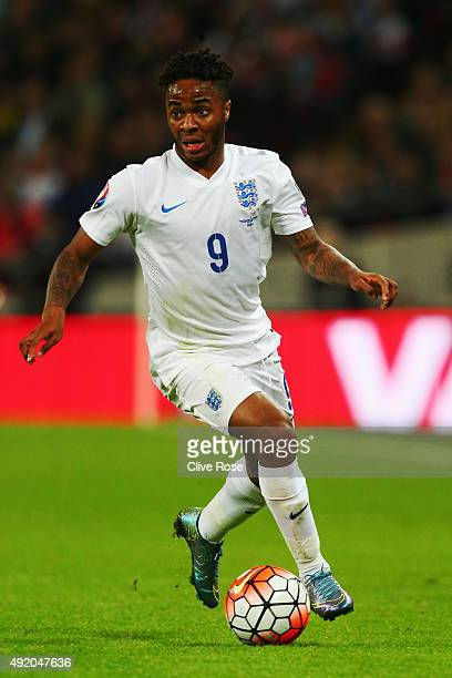 Raheem Sterling of England in action during the UEFA EURO 2016 Group E qualifying match between England and Estonia at Wembley on October 9 2015 in...