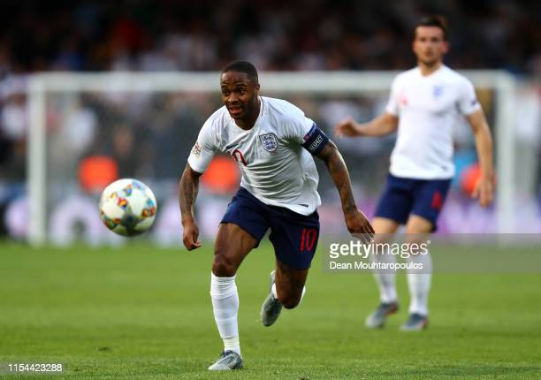 Raheem Sterling of England in action during the UEFA Nations League Semi-Final match between the Netherlands and England at Estadio D. Afonso...