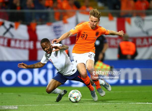 Raheem Sterling of England is challenged by Frenkie de Jong of the Netherlands during the UEFA Nations League SemiFinal match between the Netherlands...