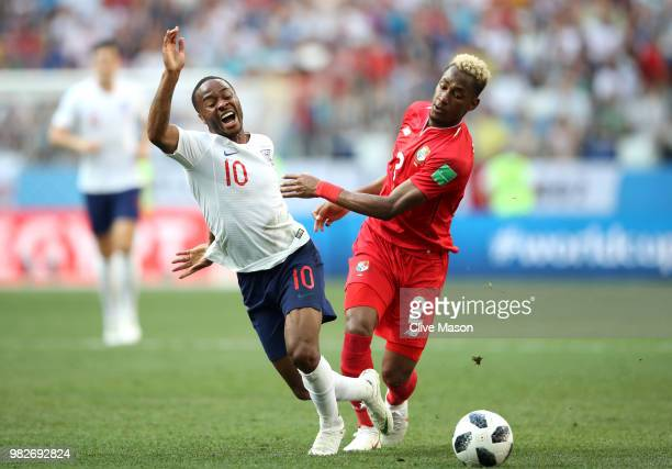 Raheem Sterling of England is challenged by Michael Murillo of Panama during the 2018 FIFA World Cup Russia group G match between England and Panama...