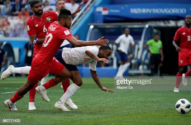 Raheem Sterling of England is fouled by Anibal Godoy of Panama during the 2018 FIFA World Cup Russia group G match between England and Panama at...