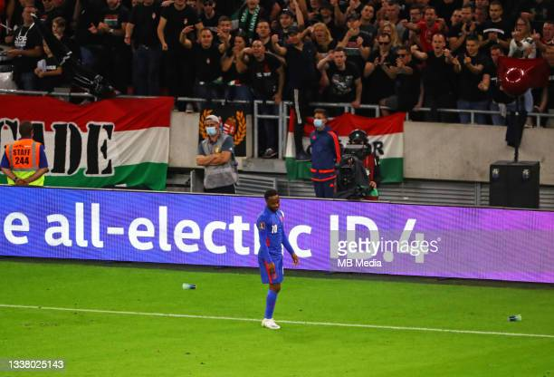 Raheem Sterling of England is jeered by the Hungary fans during the 2022 FIFA World Cup Qualifiers match at Stadium Puskas Ferenc on September 2,...