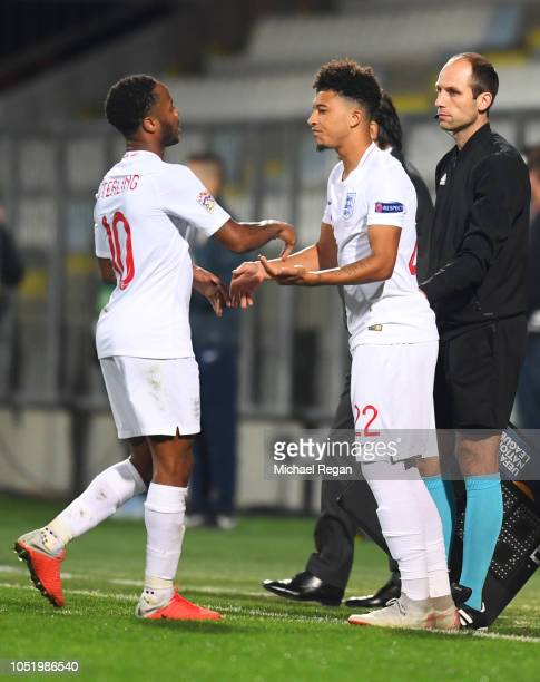 Raheem Sterling of England is replaced by substitute Jadon Sancho of England during the UEFA Nations League A Group Four match between Croatia and...