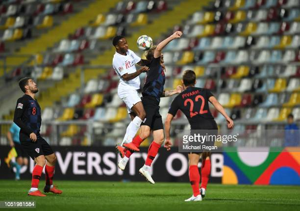Raheem Sterling of England jumps for a header in front of empty seats during the UEFA Nations League A Group Four match between Croatia and England...