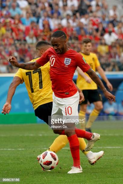 Raheem Sterling of England kicks the ball during the 2018 FIFA World Cup Russia 3rd Place Playoff match between Belgium and England at Saint...