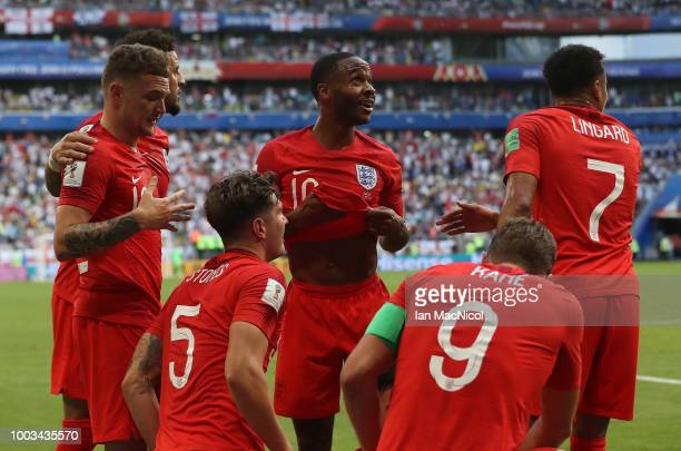 Raheem Sterling of England looks on after Harry Maguire of England scores during the 2018 FIFA World Cup Russia Quarter Final match between Sweden...