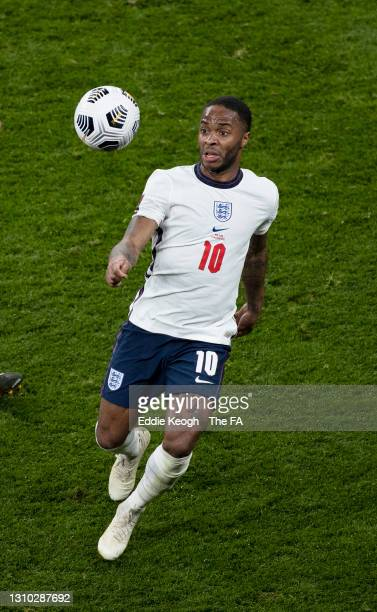 Raheem Sterling of England looks to control the ball during the FIFA World Cup 2022 Qatar qualifying match between England and Poland on March 31,...