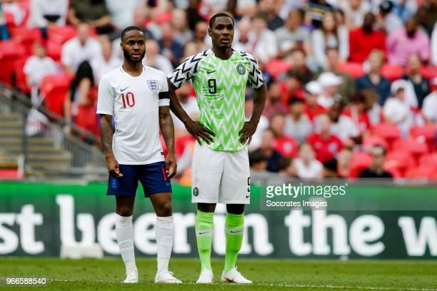 Raheem Sterling of England Odion Ighalo of Nigeria during the International Friendly match between England v Nigeria at the Wembley Stadium on June 2...