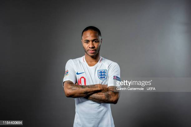 Raheem Sterling of England poses for a portrait at St Georges Park on June 04, 2019 in Burton-upon-Trent, England.