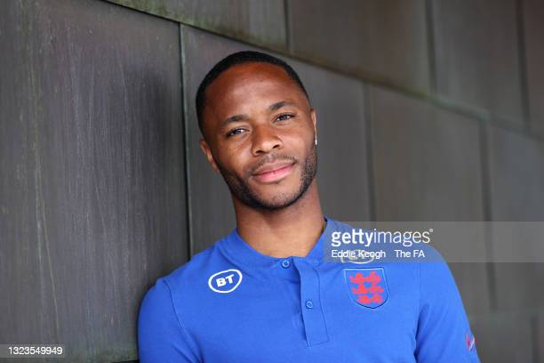 Raheem Sterling of England poses for a portrait at St George's Park on June 14, 2021 in Burton upon Trent, England.