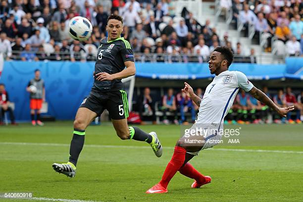 Raheem Sterling of England puts an effort on goal over the bar during the UEFA EURO 2016 Group B match between England v Wales at Stade...