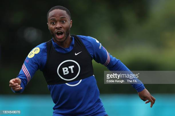 Raheem Sterling of England reacts during the England Training Session at Tottenham Hotspur Training Ground on June 20, 2021 in Burton upon Trent,...