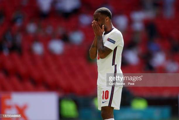 Raheem Sterling of England reacts during the UEFA Euro 2020 Championship Group D match between England and Croatia at Wembley Stadium on June 13,...