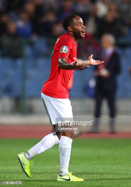 Raheem Sterling of England reacts during the UEFA Euro 2020 qualifier between Bulgaria and England on October 14 2019 in Sofia Bulgaria