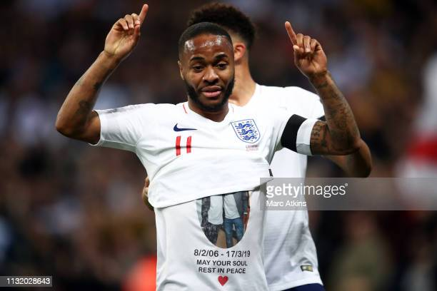 Raheem Sterling of England reveals a tribute as he celebrates the 3rd goal during the 2020 UEFA European Championships group A qualifying match...