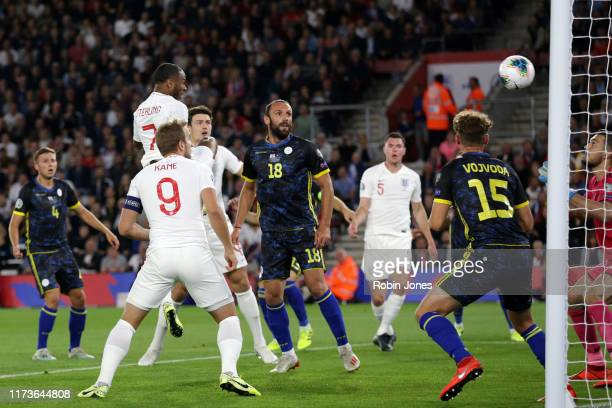 Raheem Sterling of England scores a goal to make it 11 during the UEFA Euro 2020 qualifier match between England and Kosovo at St Mary's Stadium on...
