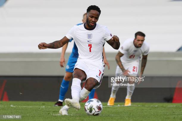 Raheem Sterling of England scores his sides first goal from the penalty spot during the UEFA Nations League group stage match between Iceland and...