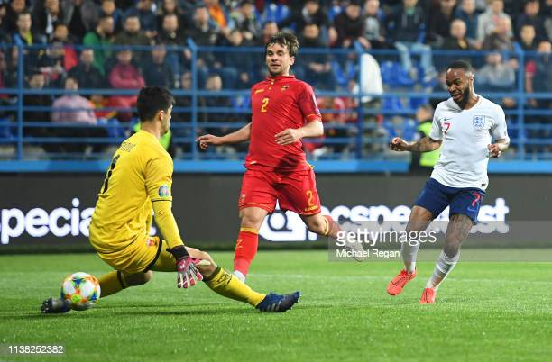 Raheem Sterling of England scores his team's fifth goal past Danijel Petkovic of Montenegro during the 2020 UEFA European Championships Group A...