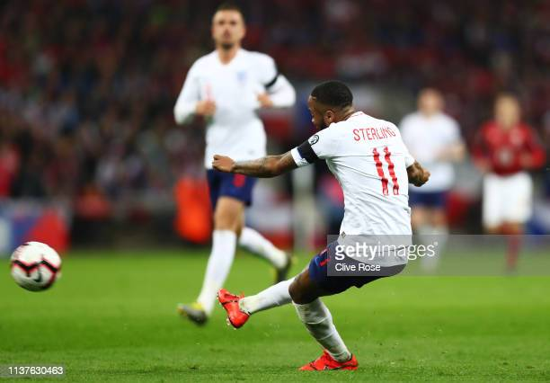 Raheem Sterling of England scores his team's fourth goal and completes his hat trick during the 2020 UEFA European Championships Group A qualifying...