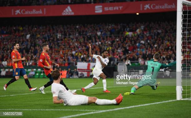 Raheem Sterling of England scores his team's third goal past David de Gea of Spain during the UEFA Nations League A Group Four match between Spain...