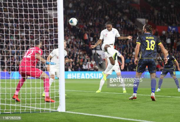 Raheem Sterling of England scores the equalising goal during the UEFA Euro 2020 qualifier match between England and Kosovo at St Mary's Stadium on...
