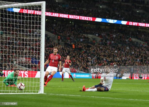 Raheem Sterling of England scores the opening goal during the 2020 UEFA European Championships qualifying match between England and Czech Republic at...