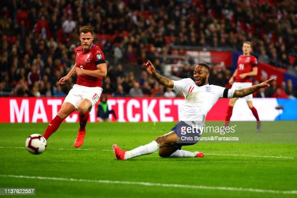 Raheem Sterling of England scores the opening goal during the 2020 UEFA European Championships group A qualifying match between England and Czech...