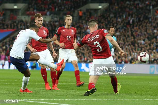 Raheem Sterling of England scores their 3rd goal during the 2020 UEFA European Championships group A qualifying match between England and Czech...