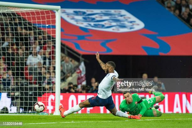 Raheem Sterling of England scoring 1st goal during the 2020 UEFA European Championships group X qualifying match between XX and XX at Wembley Stadium...