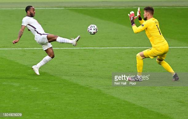 Raheem Sterling of England shoots and misses whilst under pressure from Tomas Vaclik of Czech Republic during the UEFA Euro 2020 Championship Group D...