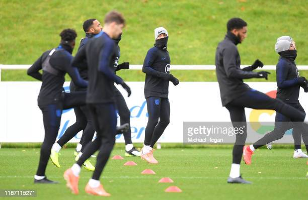 Raheem Sterling of England trains during the England Training Session ahead of the UEFA Euro 2020 Qualifier match between England and Montenegro at...