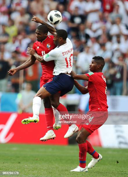 Raheem Sterling of England vies with Armando Cooper of Panama during the 2018 FIFA World Cup Russia group G match between England and Panama at...
