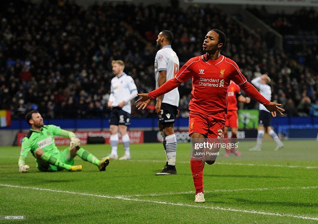 Raheem Sterling of Liverpool celebrates after scoring during the FA Cup Fourth Round Replay match between Bolton Wanderers and Liverpool at Macron Stadium on February 4, 2015 in Bolton, England.