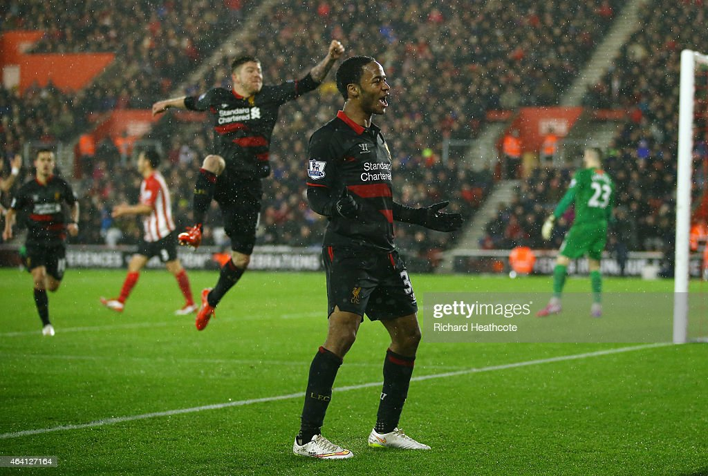 Raheem Sterling of Liverpool celebrates after scoring his team's second goal during the Barclays Premier League match between Southampton and Liverpool at St Mary's Stadium on February 22, 2015 in Southampton, England.
