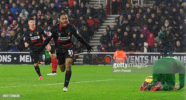 Raheem Sterling of Liverpool celebrates after scoring the second during the Barclays Premier League match between Southampton and Liverpool at St...